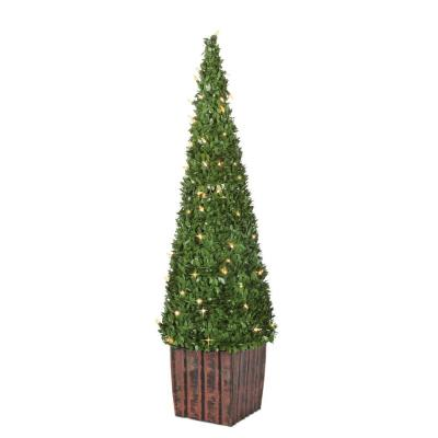 3.5 ft. Potted PVC Boxwood Tree