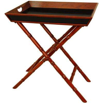 Oriental Furniture 24 in. x 15 in. Bamboo Style Tea Tray with Trestle Stand in Brown