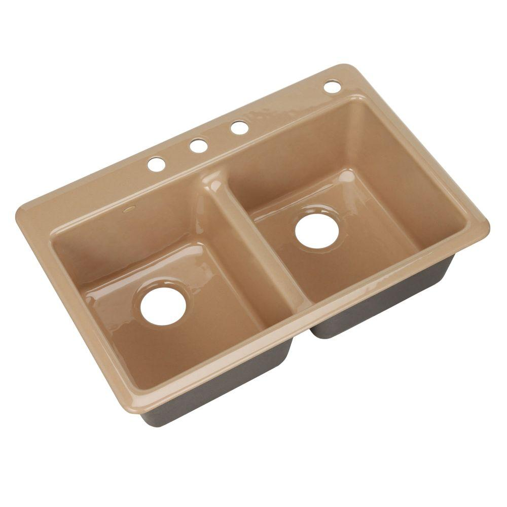 KOHLER Anthem Drop-In Cast Iron 33x 22x9.625 4-Hole Kitchen Sink in Mexican Sand-DISCONTINUED