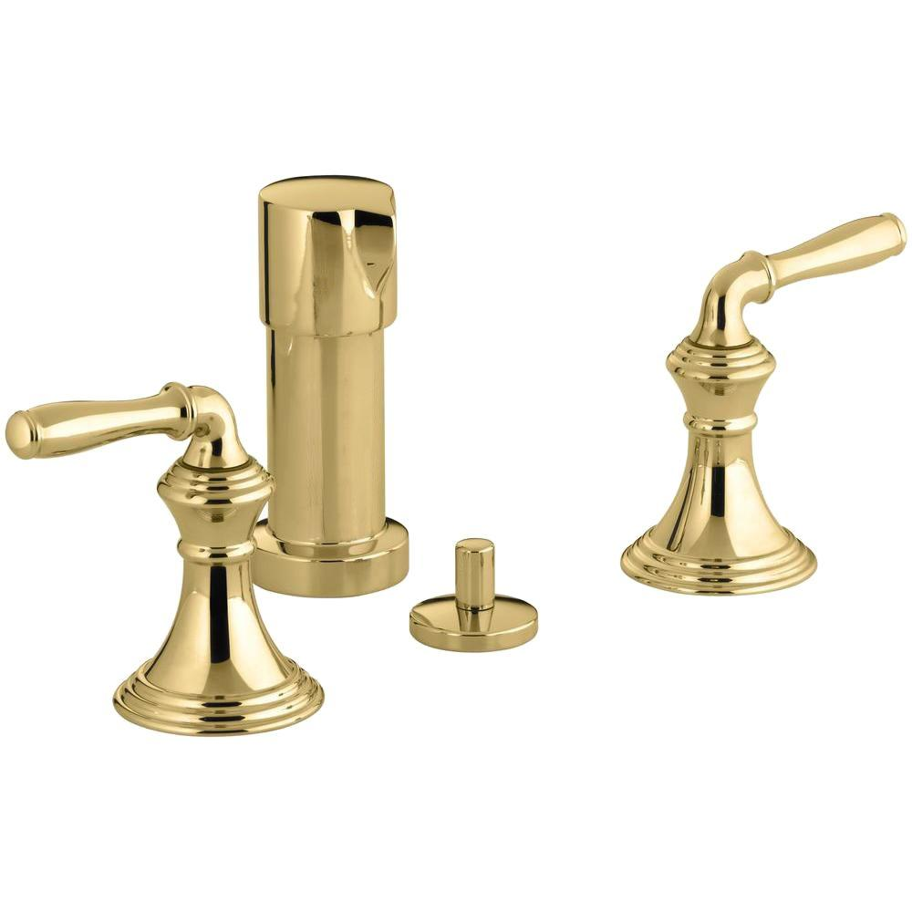 KOHLER Devonshire 2-Handle Bidet Faucet in Vibrant Polished Brass with Vertical Spray