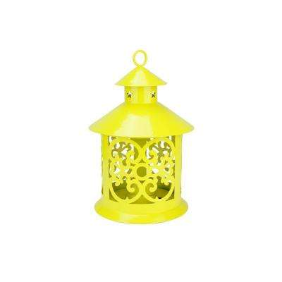 8 in. Shiny Yellow Votive or Tealight Candle Holder Lantern with Star and Scroll Cutouts