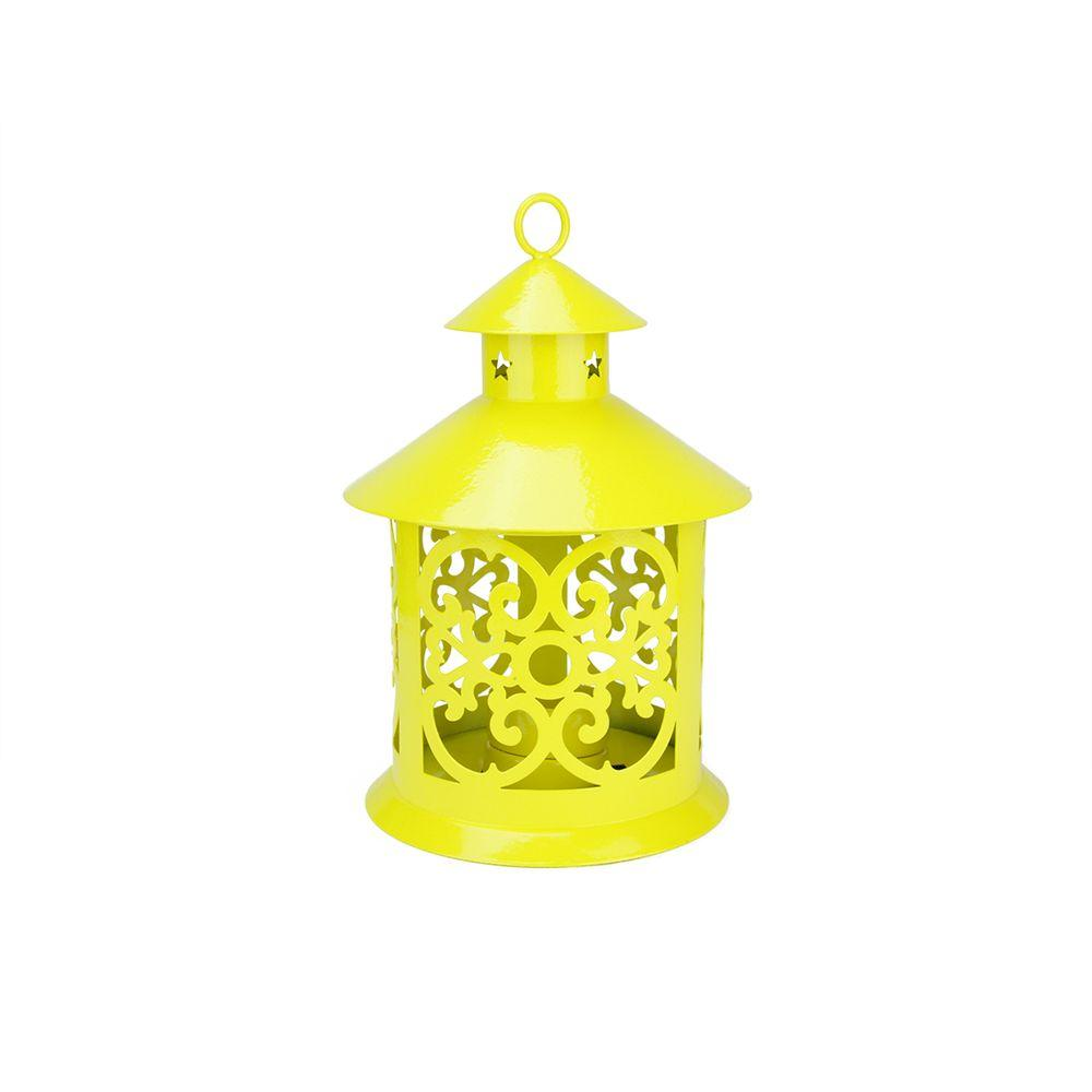 8 in. Shiny Yellow Votive or Tealight Candle Holder Lantern with