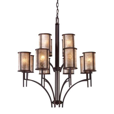 Barringer 12-Light Aged Bronze Chandelier With Tan Mica Shades