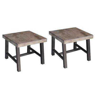 Delta Square Aluminum Outdoor Side Table (2-Set)