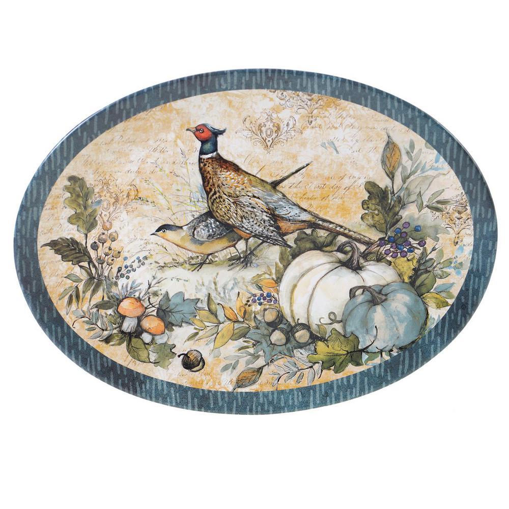 16 in. Harvest Gatherings Multicolored Earthenware Oval Platter