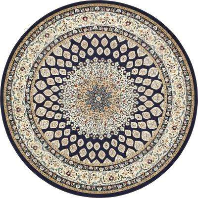 Nain Design Navy Blue 10 ft. x 10 ft. Round Area Rug