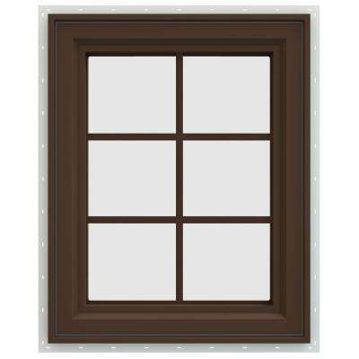 23.5 in. x 35.5 in. V-4500 Series Left-Hand Casement Vinyl Window with Grids - Brown
