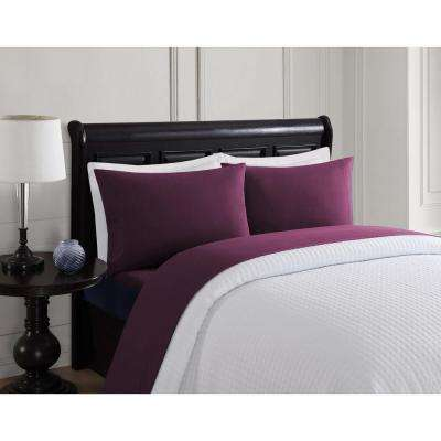 4-Piece Solid Deep Purple Twin Sheet Set