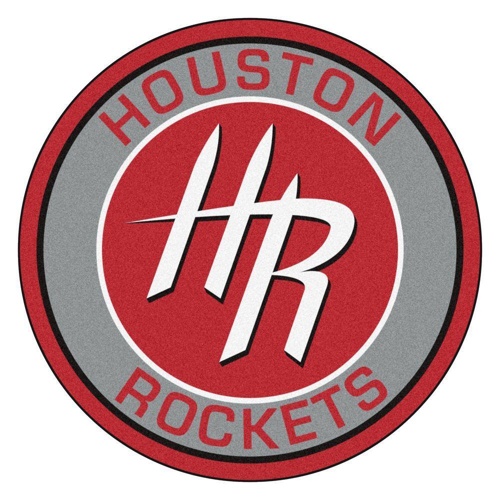 NBA Houston Rockets Gray 2 ft. x 2 ft. Round Area Rug