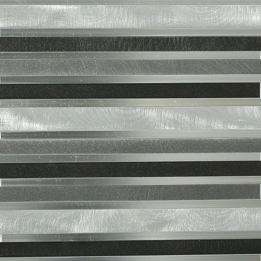 Sample Stainless Steel Insert Marble Stone Beige Mosaic: Splashback Tile Urban Skyline Metal Mosaic Tile