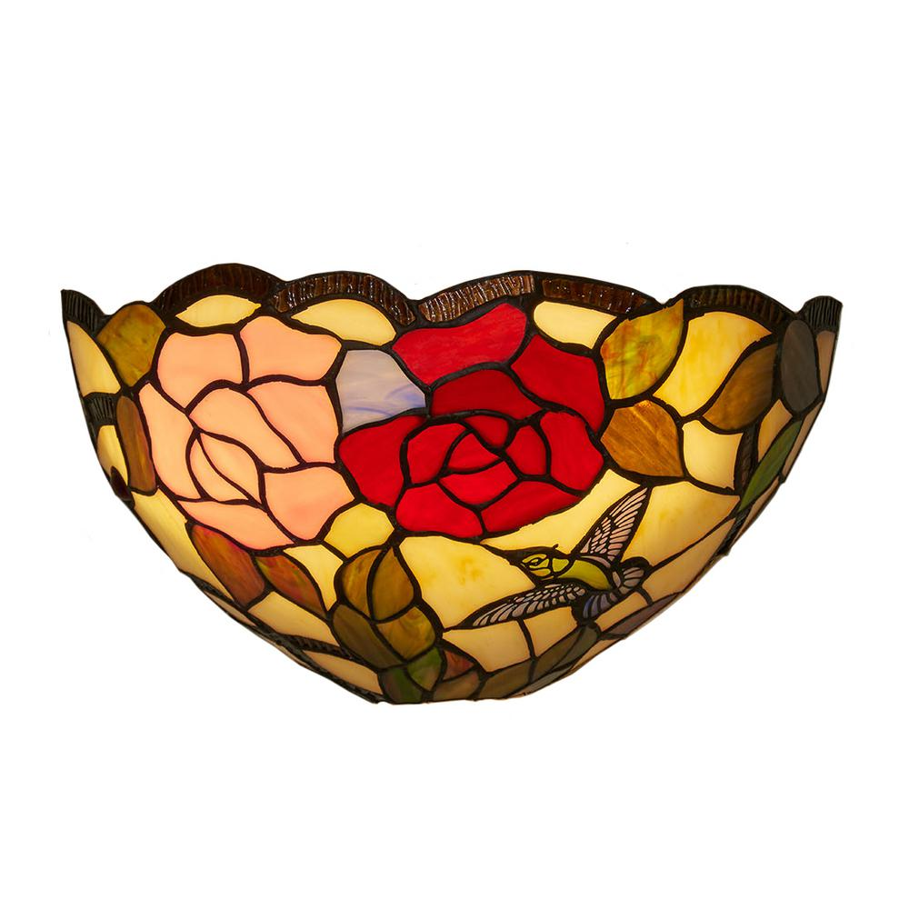 Tiffany Rose And Leaves Indoor Sconce With Remote Control 3 Stage Dimmer