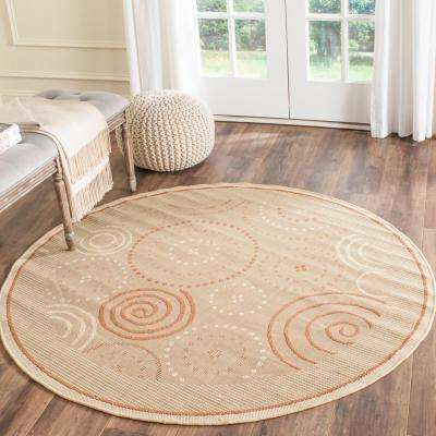 Courtyard Natural/Terracotta 7 ft. x 7 ft. Indoor/Outdoor Round Area Rug