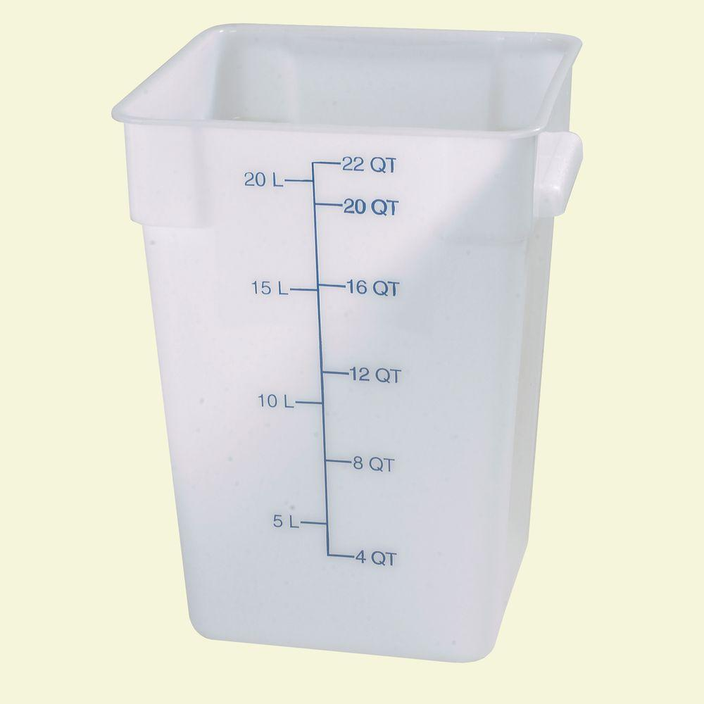 Carlisle 22 qt. Polyethylene Square Food Storage Container in White (Case of 6)