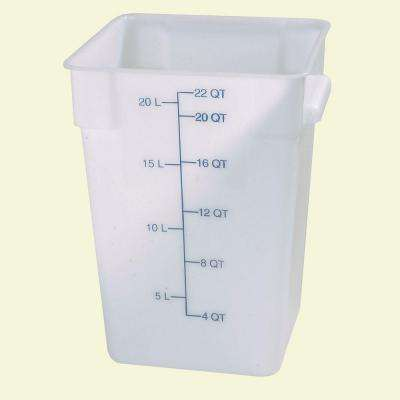 22 qt. Polyethylene Square Food Storage Container in White (Case of 6)