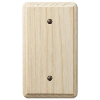 Contemporary 1 Gang Blank Wood Wall Plate - Unfinished Ash