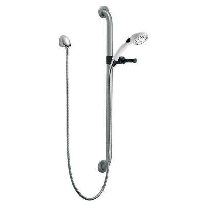 2-Spray Hand Shower with Grab Bar and Elbow in Chrome