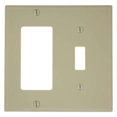 2-Gang Standard Size 1-Toggle 1-Decora Nylon Combination Wall Plate, Ivory