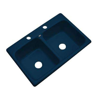 Newport Drop-In Acrylic 33 in. 2-Hole Double Bowl Kitchen Sink in Navy Blue