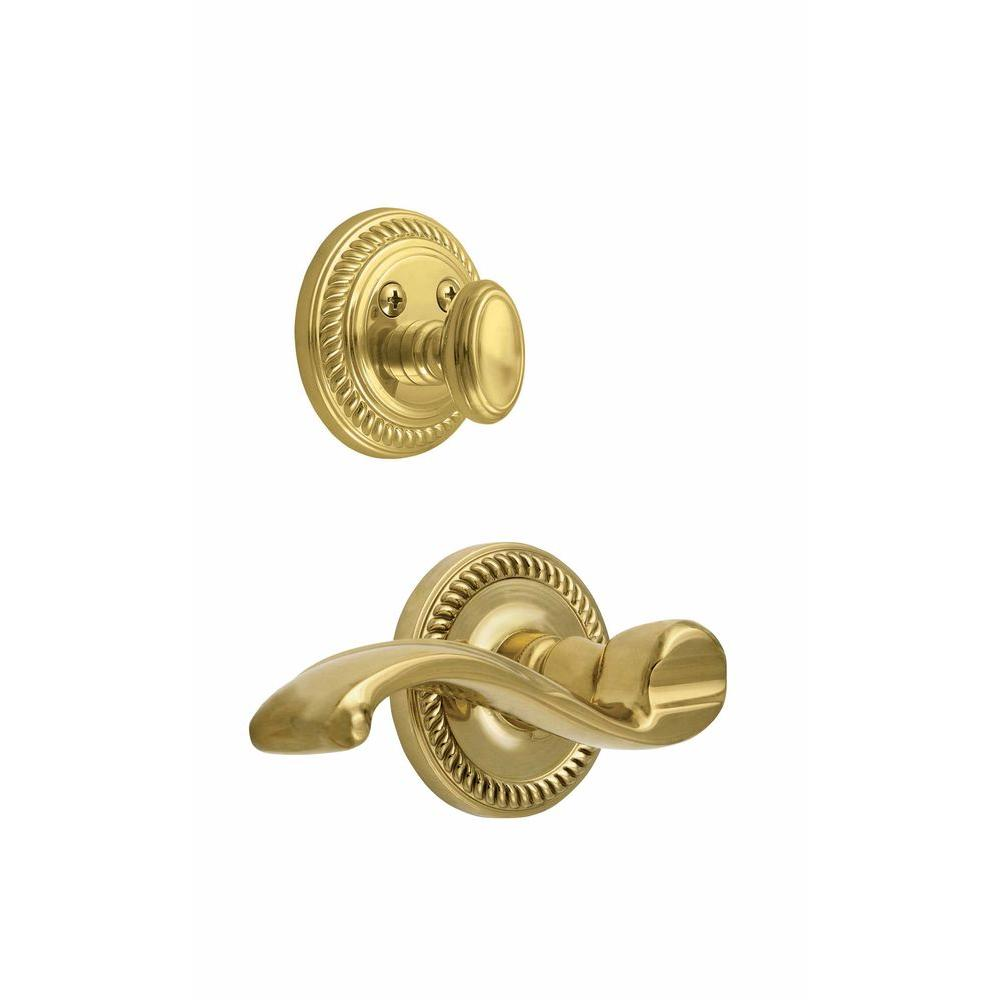 Grandeur Newport Single Cylinder Lifetime Brass Combo Pack Keyed Differently Right Handed Portofino Lever and Matching Deadbolt