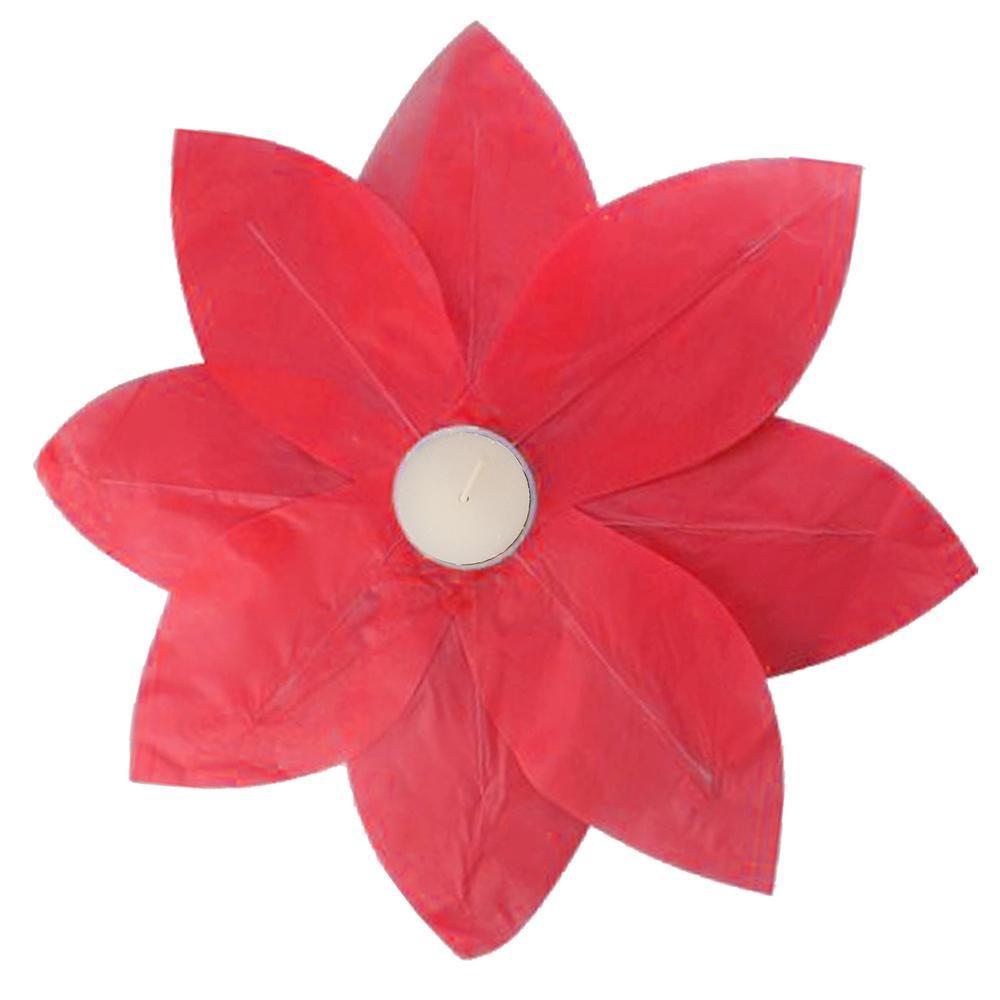 Lumabase Red Floating Lotus Lanterns (6-Count)