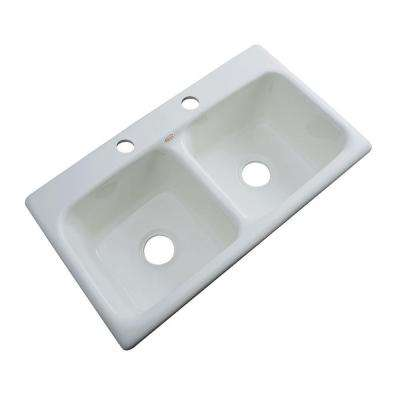 Brighton Drop-In Acrylic 33 in. 2-Hole Double Bowl Kitchen Sink in Sterling Silver