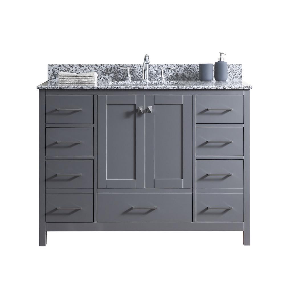 Caroline Madison 49 in. W Bath Vanity in C. Gray with Granite Vanity Top in Arctic White Granite with Square Basin
