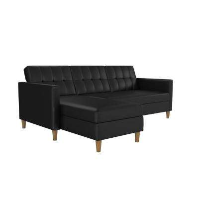 Hartford Black Faux Leather Storage Sectional Futon