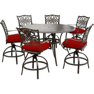 Traditions 7-Piece Aluminum Outdoor Bar Height Dining Set with Red Cushions, 6-Swivel Chairs and a 56 in. Cast-Top Table