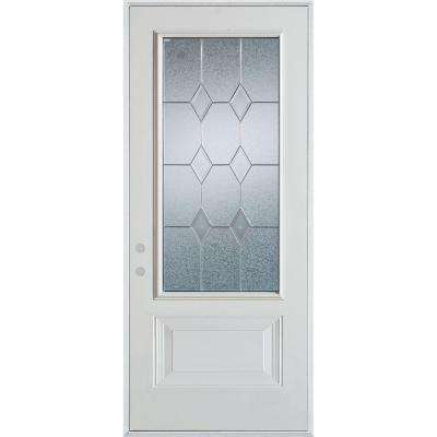 37 x 82 front doors exterior doors the home depot 37375 in x 82375 in geometric zinc 34 lite 1 panel eventshaper