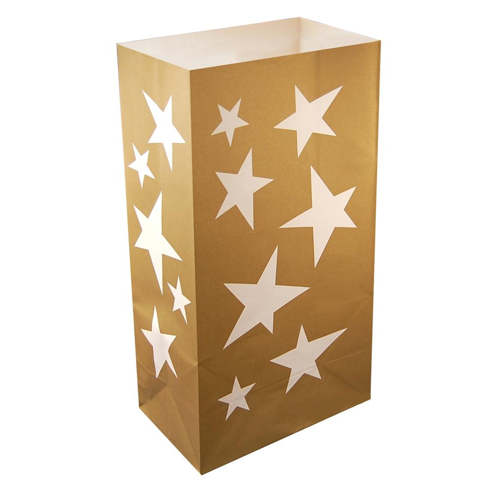 Lumabase Gold Star Flame Resistant Luminaria Bags (Set of 12)