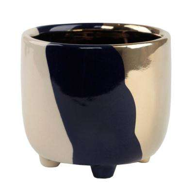 4.8 in. Navy 3-Tone Footed Ceramic Planter