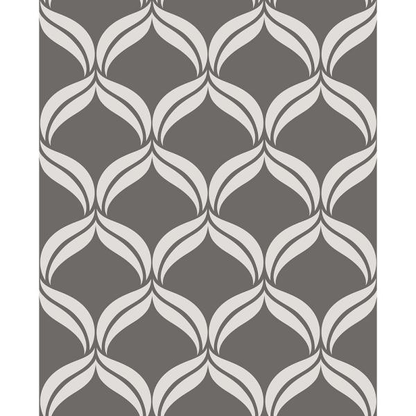 Petals Grey Ogee Paper Strippable Roll (Covers 56.4 sq. ft.)