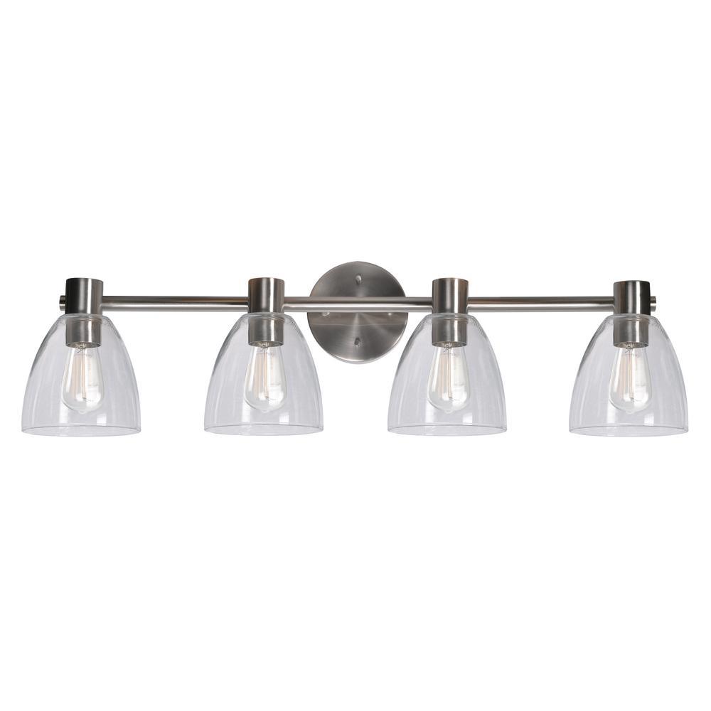Kenroy Bathroom Vanity Light: Kenroy Home Edis 4-Light Steel Bath Light Vanity-92094BS