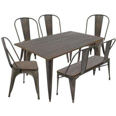 Oregon 6-Piece Antique and Espresso Dining Set