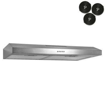 30 in. 58 CFM Convertible Under Cabinet Range Hood in Brushed Stainless Steel With Lighting