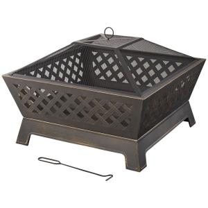 Tipton 34 in. Steel Deep Bowl Fire Pit in Oil Rubbed Bronze with Cover