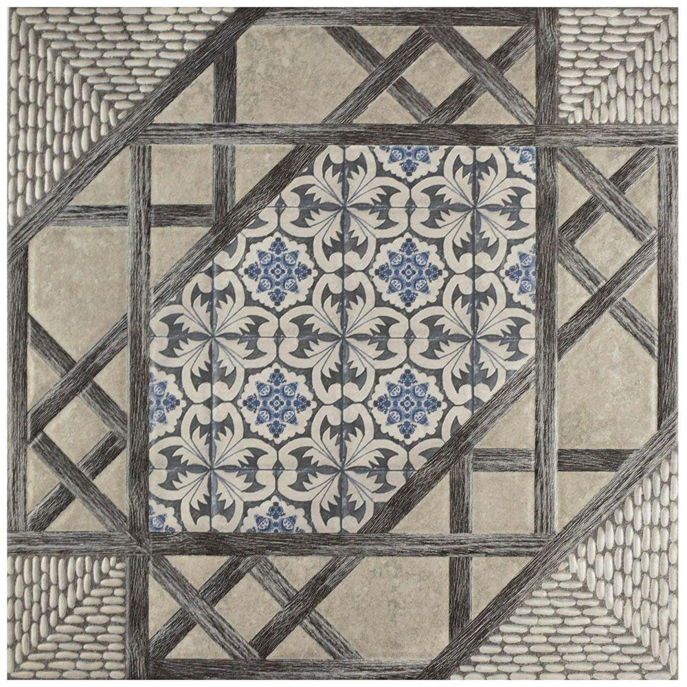Olivia Gris 17-5/8 in. x 17-5/8 in. Ceramic Floor and Wall