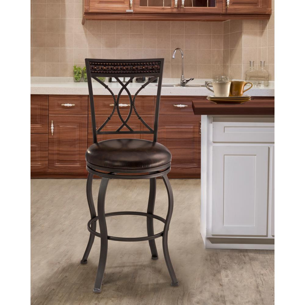 Black Home Bar Furniture: Hillsdale Furniture Kirkham 30 In. Black Silver Swivel