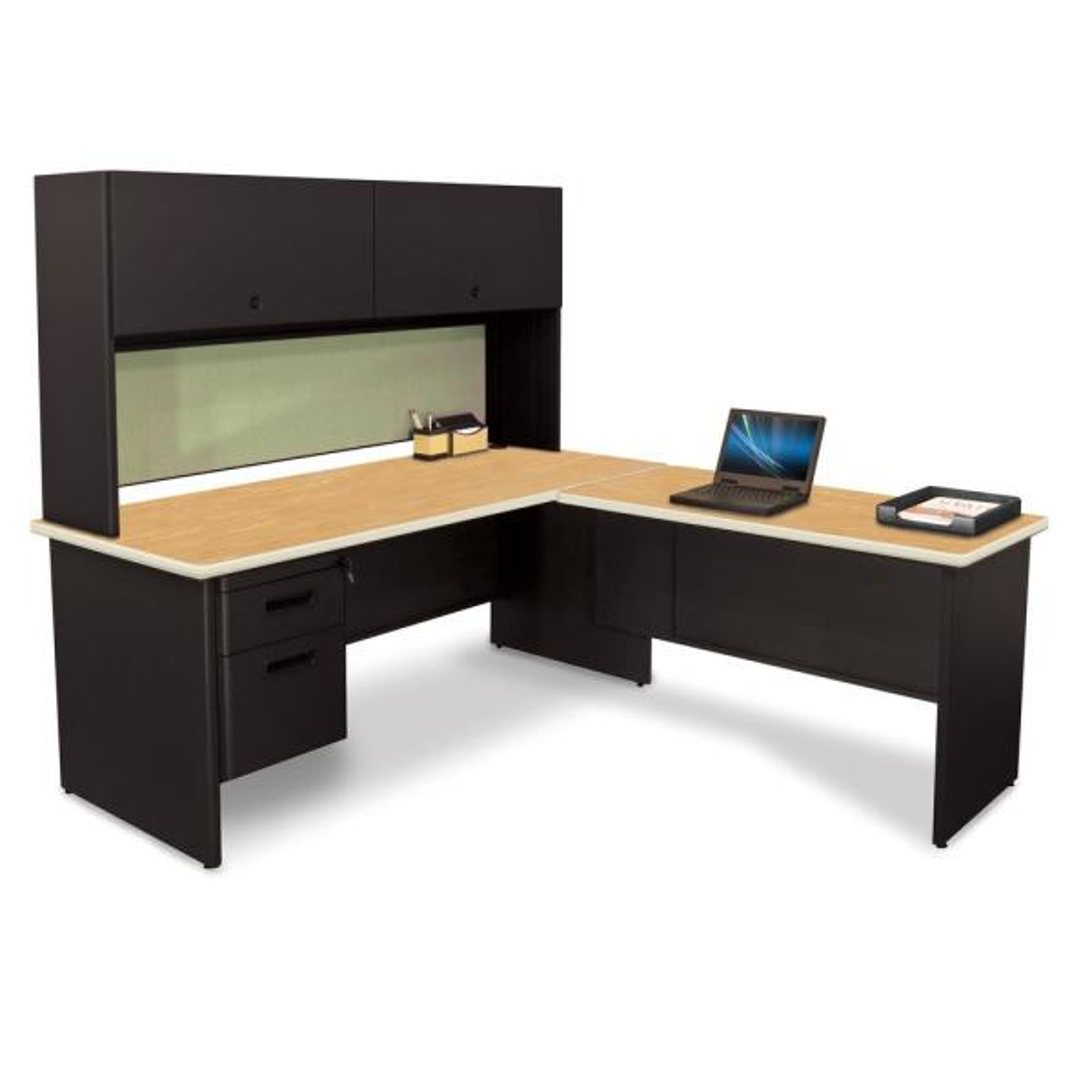 72 in. W x 78 in. D Black,Oak and Peridot Desk