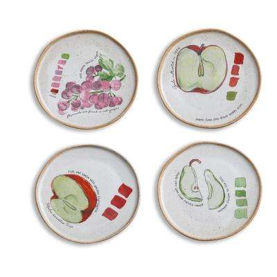 Farm to Table 4-Piece White Appetizer Plates with Fruit
