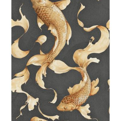 Metallic Gold and Ebony Koi Fish Wallpaper