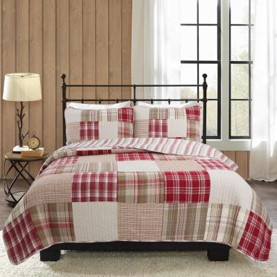 Little Red Tartan Plaid Square Patchwork 3-Piece Red Brown Beige Cotton Queen Quilt Bedding Set