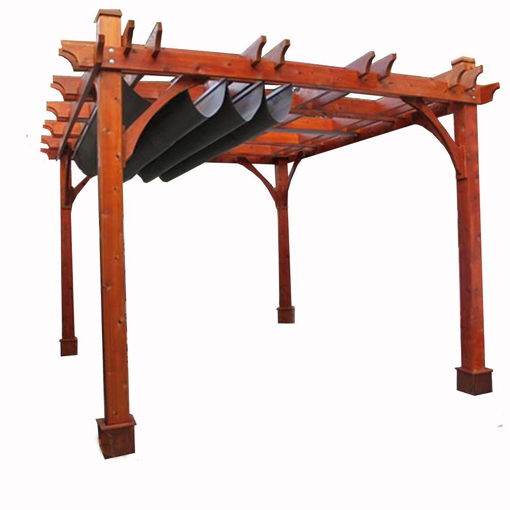 Breeze Cedar Pergola With Retractable Canopy