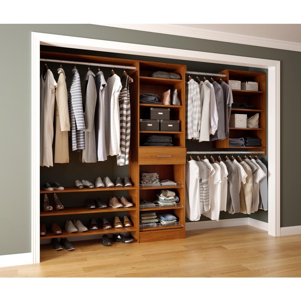 Assembled Reach-In 15 in. D x 120 in. W x 84 in. H Calabria in a Cognac Melamine 14-Shelves Closet System
