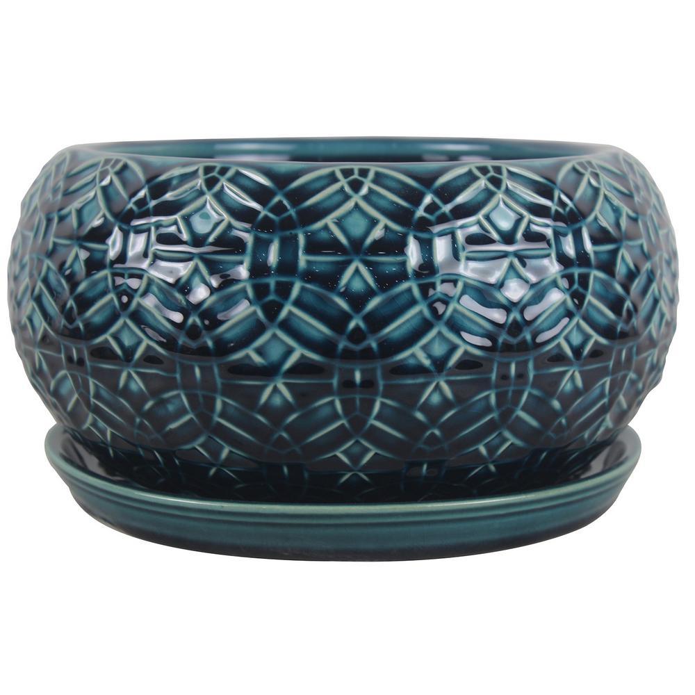 10 in. Dia. Ceramic Crackle Blue Rivage Bowl