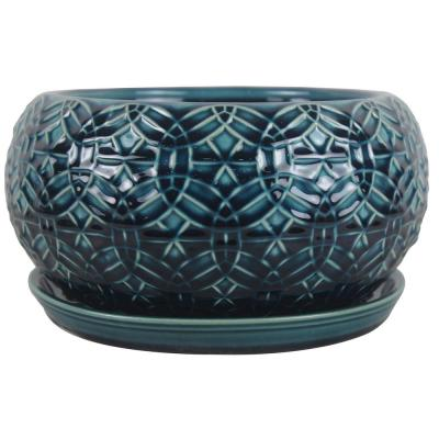 10 in. Dia Blue Rivage Ceramic Bowl Planter