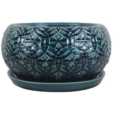 10 in. Dia. Ceramic Crackle Blue Rivage Bowl