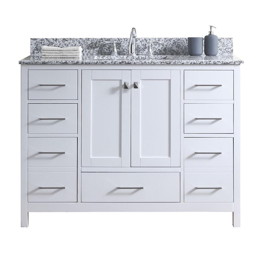 Caroline Madison 49 in. W Bath Vanity in White with Granite Vanity Top in Arctic White Granite with Square Basin