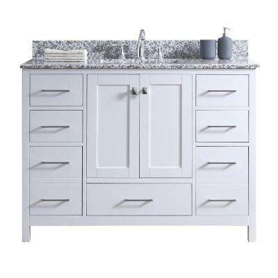 Caroline Madison 48 in. W x 22 in. D Vanity in White with Granite Vanity Top in Arctic White with White Square Basin