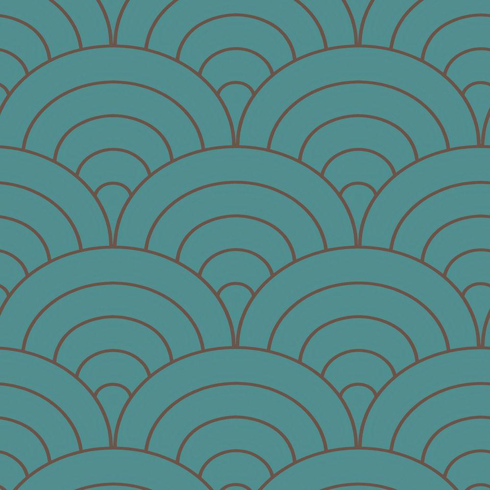 The Wallpaper Company 8 in. x 10 in. Peacock Modern Spiral Wallpaper Sample